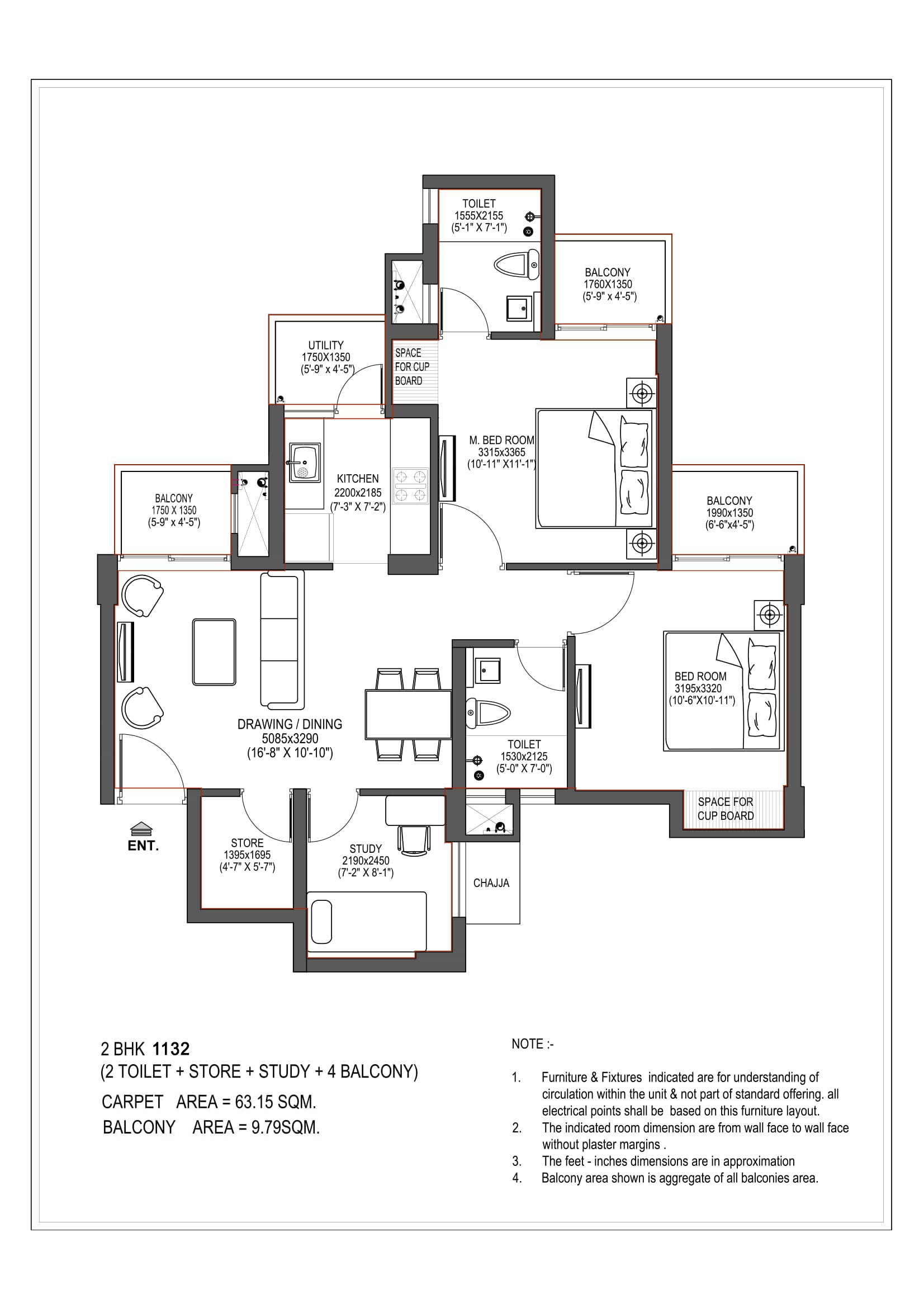 2bhk Plan Dimension Zion Star Zion Star